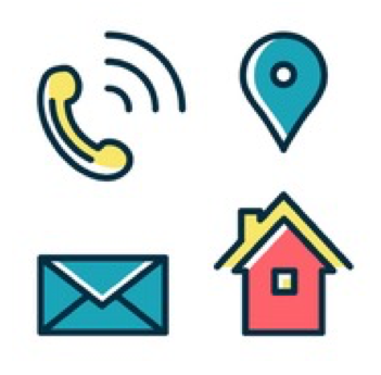 Two rows of images, including ringing phone, location marker, envelope, and a building