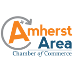 Logo of the Amherst Area Chamber of Commerce - The A in Amherst is surrounded by a circling arrow and a plus sign