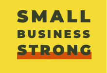 Logo for Small Business Strong - bold black capital letters on yellow background with red line under STRONG