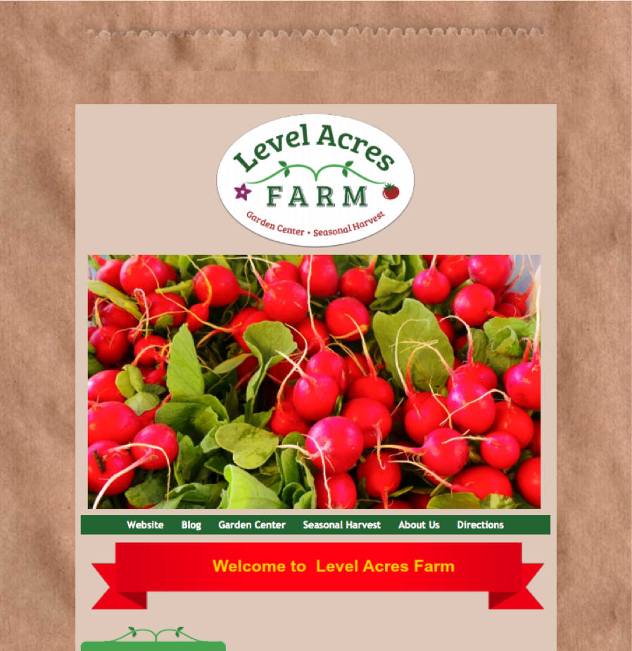 Level Acres Farm logo on a bag w a photo of red raddishes
